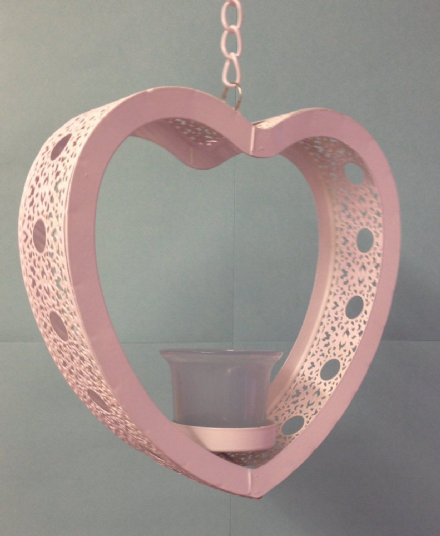 White Metal Heart Hanging Tea Light Candle Holder - Blue Glass